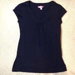 Lily Pulitzer navy T-shirt gathered neckline Sz XS